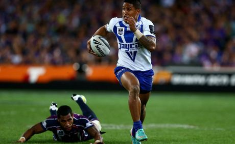 Ben Barba of the Bulldogs makes a break during the 2012 NRL Grand Final match between the Melbourne Storm and the Canterbury Bulldogs at ANZ Stadium on September 30, 2012 in Sydney, Australia.