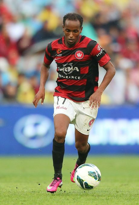 Youssouf Hersi of the Wanderers controls the ball during the round 22 A-League match between the Western Sydney Wanderers and the Perth Glory at Parramatta Stadium on February 23, 2013 in Sydney, Australia.