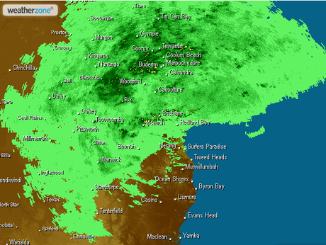 Weather radar for Sunshine Coast at 8pm on Monday night.
