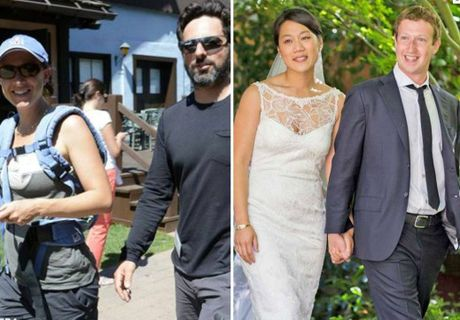 Google co-founder Sergey Brin and his wife Anne Wojcicki; Facebook founder Mark Zuckerberg and his wife Priscilla Chan