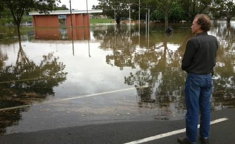 Floodwater rising at Nelson Park in Gympie.