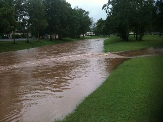 Flooding waterways in Laidley.
