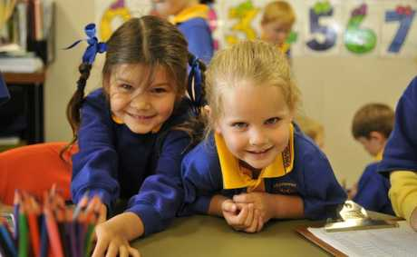 Prep students Molly Mayall and Hayley Watts enjoy their days at Ramsay State School. 