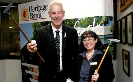 Heritage CEO John Minz and Assert Services General Manager Bronwyn Herbertson, one of the eight recipients who shared in $46,000 in donations Photo Contributed