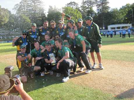 FLASHBACK: CD Stags rejoicing after last summer's Ford Trophy victory in New Plymouth.