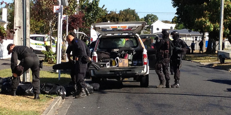 The Armed Offenders Squad attends a stand-off in Glenview, Hamilton.