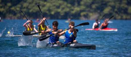 Tauranga paddlers Sam Roy (right) and Taris Harker competing at the national canoe sprint championships in Rotorua last week.