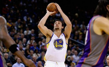 Andrew Bogut #12 of the Golden State Warriors in action against the Phoenix Suns at Oracle Arena.