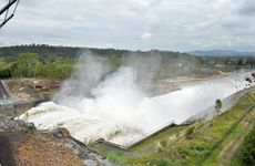 Water release at Wivenhoe Dam on Thursday, January 31.