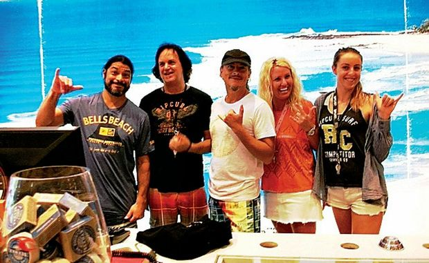 Metallica bassist Rob Trujillo, Steve Sullivan, guitarist Kirk Hammett, Di Damsa and Luca Emmwright at Ripcurl Coolangatta.