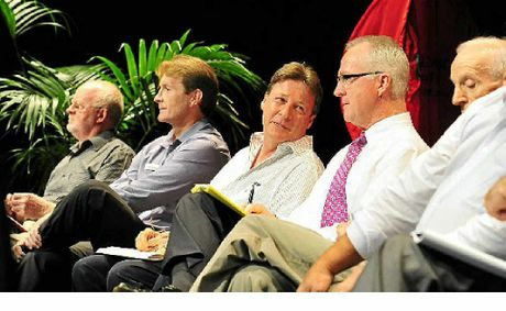 Mayor Mark Jamieson (second right) at a Noosa de-amalgamation forum at The J.