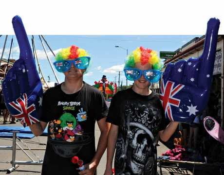 PATRIOTIC PRIDE: Tyson O'Dea-Newey and Brodie Glendinning got dressed up for Australia Day II.