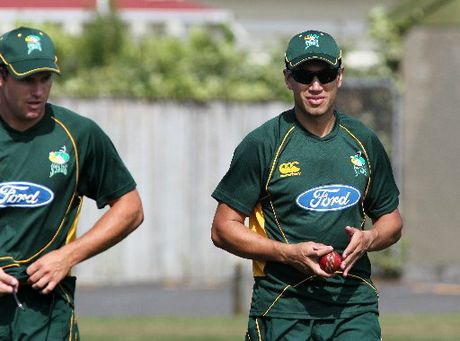 Doug Bracewell (left) and Ross Taylor showed the way but not too many Stags followed them yesterday. 