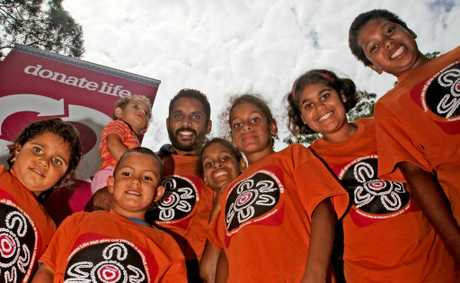 Preston Campbell meets with young members of the tweed aboriginal community.