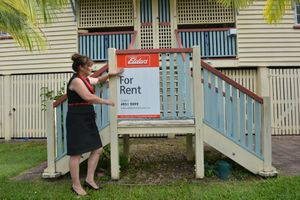 Sally Richards at a Mackay rental property.