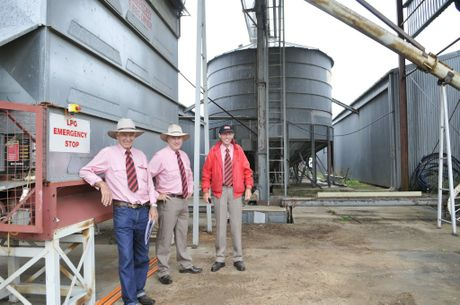 Elders Toowoomba rural sales consultant Bob Loiterton and principals Ross Troy and Trevor Leishman prepare to auction the assets of Wellcamp Downs.
