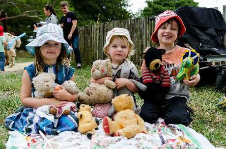PAW POWER: Sadie, 5, Oscar, 3, and Charlie, 7, Preston of Greytown brought a handful of bears to an earlier Teddy Bears' Picnic. PHOTO/FILE
