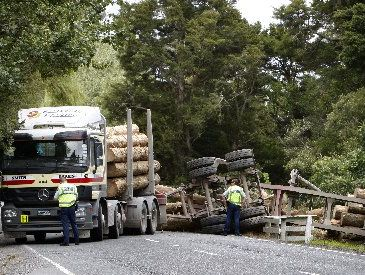 The scene at the logging truck accident at Otaika Valley Rd on Wednesday. 