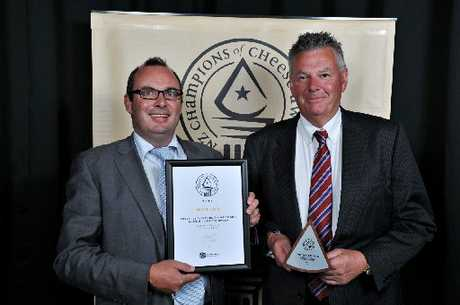 TOP AWARD: Simon Berry of Whitestone Cheese, Oamaru, with Guy de Lambert of Innovative Packaging. PHOTO/SUPPLIED