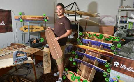 Tim Mahon from Pacific Paradise has started his own business making skateboards, Mudjimba Cruisers.