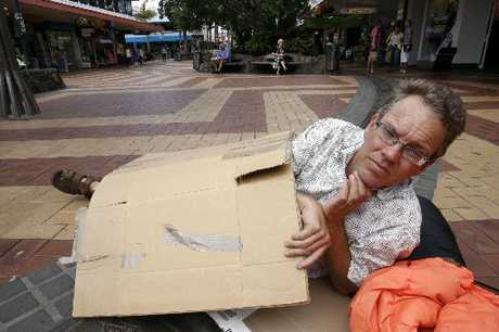 HOMELESS: Tai Tokerau Emergency Housing Trust chairman Adrian Whale outside the Cameron St mall with his sleeping bag.