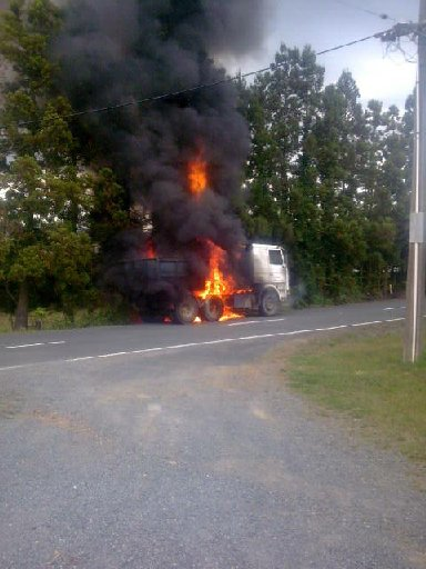 ENGULFED: The truck fire near Whareora hall on Thursday.