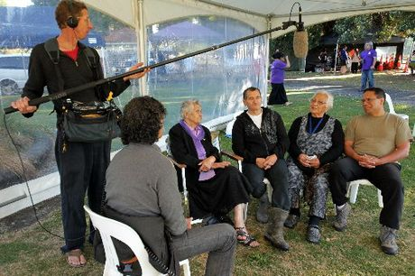 RECORDING: A film crew engaged by Whanganui Maori records impressions of the 1995 occupation of Pakaitore/Moutoa Gardens. Those speaking to the interviewer are Julie Ranginui (left), Ken Mair, Dardi Metekingi Mato and Te Tiwha Puketapu.PHOTO/STUART MUNRO