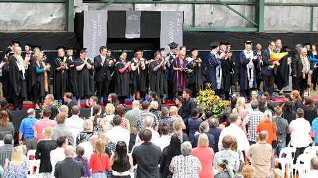 CONCERNS FOR FUTURE: Wanganui UCOL students graduate in a ceremony at Jubilee Stadium in March last year. A year later, a taskforce that may be instrumental in deciding the shape of UCOL's future in Wanganui has begun meetings. PHOTO/FILE
