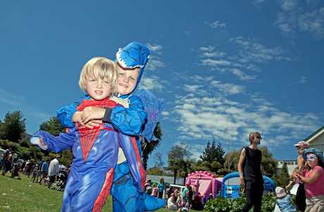 Jacob 'the dragon' Butler and Spiderman brother Tom enjoy Children's Day at Tauranga's Historic Village.