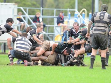 Action from the rugby union Country Cup at Risdon Oval at the weekend.