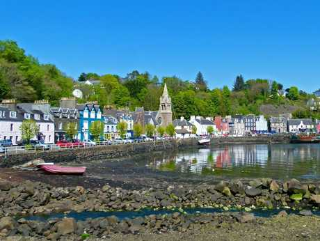 Tobermory Harbour on the Isle of Mull, where converted fishermen's cottages charm visitors.