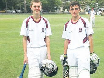 Harry Gregory (right) and Josh Hannan after their mammoth innings for Havelock North High first XI team.