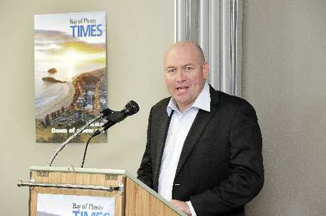 Bay of Plenty Times editor Scott Inglis during his speech at yesterday's breakfast launch.