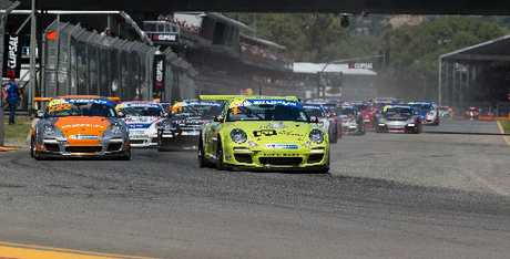 Craig Baird out front during the Clipsal 500 at Adelaide, round one of the Porsche Carrera Cup.