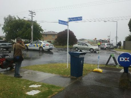 Police at the scene of the accident on Ngatai Rd.
