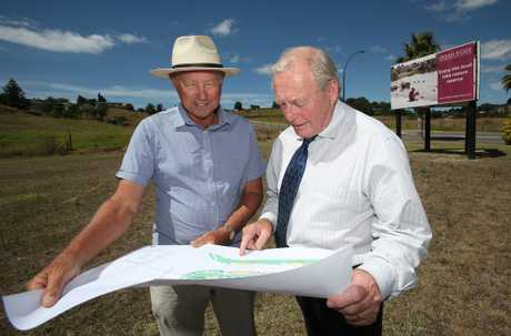 John Friis and Bob Thorne at the site of a new retail complex planned at Urban Ridge.