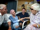 Geoff Provest, Misty Fuller , David Ralph talk to Gloria Tempest at the Hospital.