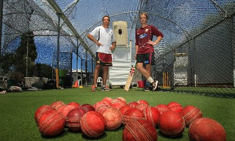 Ben Williams, left, and Black Caps batsman Kane Williamson, in front of the Merlin spin bowling machine at the Ben Williams Cricket Academy in Te Puna.