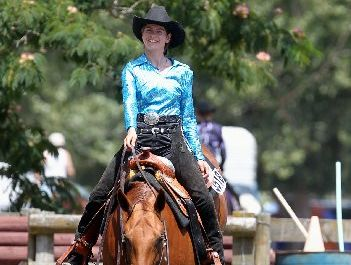 Stephanie Milligan of Hastings on Whizzarita, during a trail class (obstacle course for horses) at the Hawke's Bay Western Riding Club's three-day summer show, at Equestrian Park, Bridge Pa.