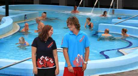 Mount Hot Pools staff Tammie Dunstan and lifeguard Iwan Thomas make a splash in their new uniforms.