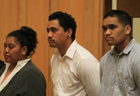 Phillippa Morehu (left), and Haki Davey (far right) have been acquitted of manslaughter in Hamilton High Court today. Hetaraka Reihana (centre), pleaded guilty to the same charges.