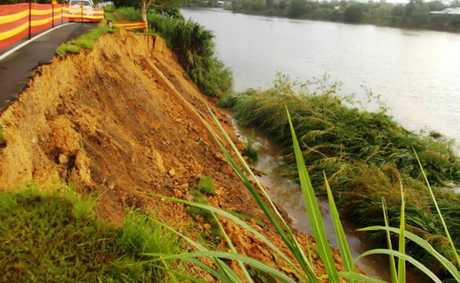 The section of the Tweed River which has collapsed.