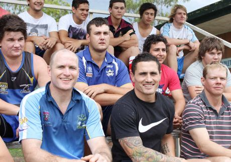 TEAM WORK: Central Highlands rugby league team coach Steve Bell (front, left) and under-20s coach PJ Marsh.