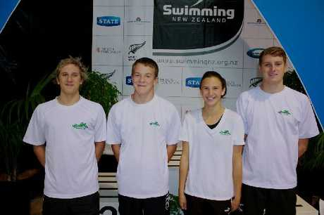 LAPS OF HONOUR: Doing Masterton proud at the national age group championships, from left, Sven Tobias, Logan Alolen, Emma Samuel and Ben Ruback. Absent: John McKeefry.