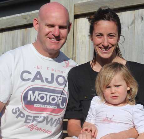 Blair Spalding, Carla Darrah and their daughter Indie will fly to Germany next month where Blair will undergo surgery for a brain tumour