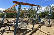 GONE UNDER: Recent flood damage to a picnic and childrens play area at Colleges Crossing.