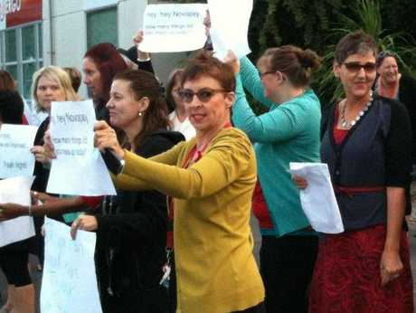 School staff show their displeasure at the Novopay debacle affecting schools since its inception six months ago.