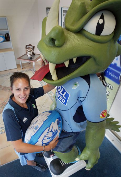 SCHOOL GAMES: Grace Cooper with the Taniwha, who just might get amongst the play at the occasion primary school game. PHOTO/TANIA NEWMAN