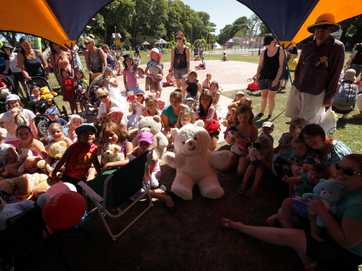 Teddy bears at Kowhai Park for the Picinic. Hosted by Lions clubs and Plunket.
