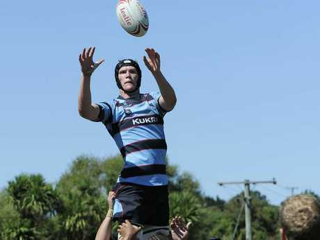 BIG LEAP: Auckland Marist lock William Lloyd wins a lineout.